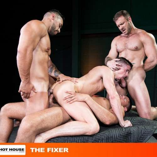 4 Muscle Hunks Fuck Hard with Double Penetration | Daily Dudes @ Dude Dump