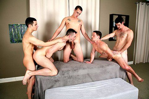5-Way gang bang with guys with big cocks | Daily Dudes @ Dude Dump