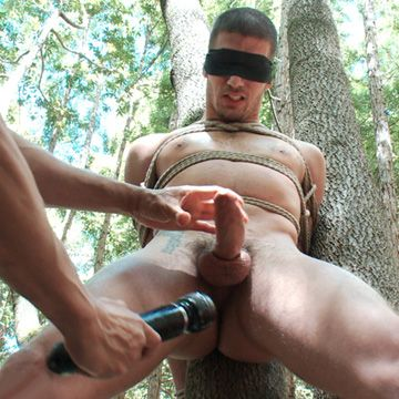 Tied to Tree & Cock Edged | Daily Dudes @ Dude Dump
