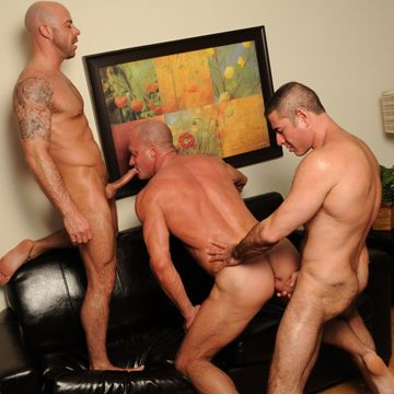 Two Gay Muscle Guys Fuck Their Buddy Bareback | Daily Dudes @ Dude Dump