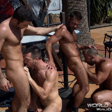 A Gay Muscle Fourgy At World of Men! | Daily Dudes @ Dude Dump