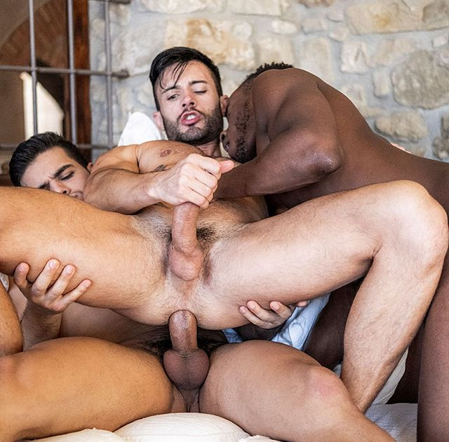 Andy Star takes 2 big cocks | Daily Dudes @ Dude Dump
