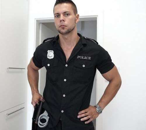 Angelo Godshack Sexy Officer Takes Off His Uniform | Daily Dudes @ Dude Dump