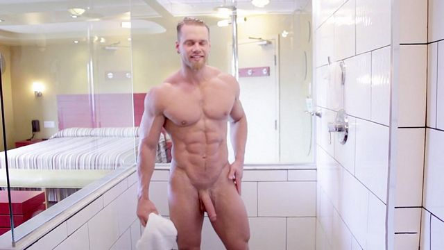 Brad bust his sweet sticky nut under shower! | Daily Dudes @ Dude Dump