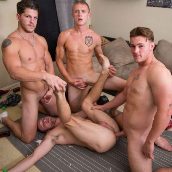 Brandon takes three juicy dicks   Daily Dudes @ Dude Dump