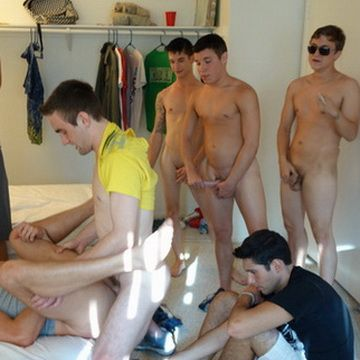 College Bottom Boy Takes A Load From Three Straig | Daily Dudes @ Dude Dump