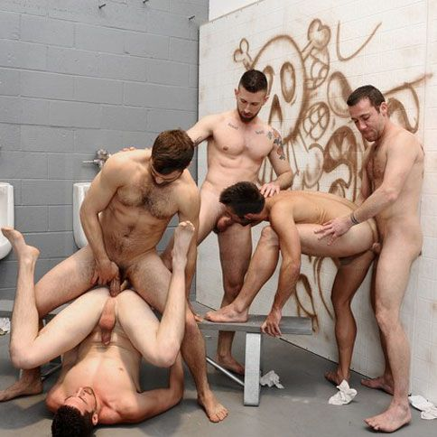 Five stud orgy in a public restroom | Daily Dudes @ Dude Dump