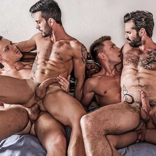 """Four Hung Guys Have Bareback Orgy in """"Fuck N Cuc 