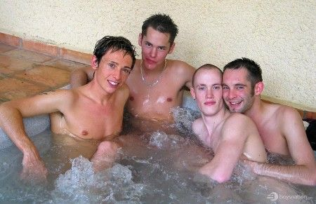 Four twinks fuck in the Jacuzzi | Daily Dudes @ Dude Dump