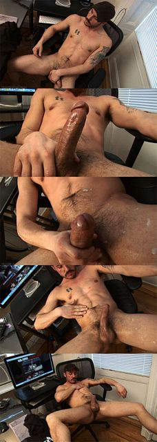 Gabriel strokes his 6 inch cut cock & spurts jizz | Daily Dudes @ Dude Dump