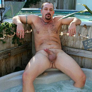 Hairy Bear Naked in a Hot Tub | Daily Dudes @ Dude Dump
