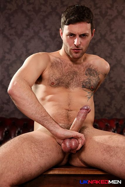 Hairy chasted Riley Tess jerks his uncut dick | Daily Dudes @ Dude Dump