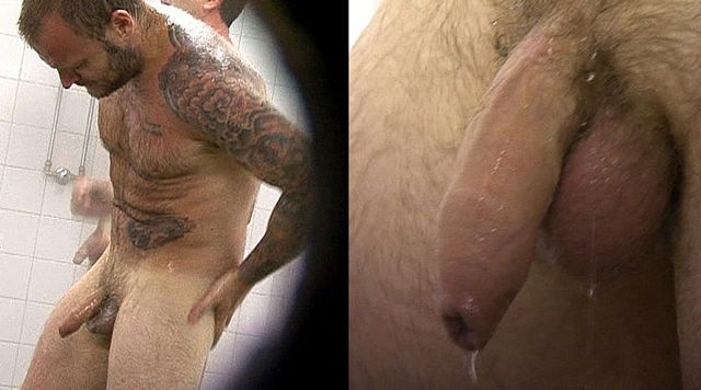 Hairy footballer with big dick filmed in showers | Daily Dudes @ Dude Dump