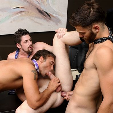 Horny threesome at the office | Daily Dudes @ Dude Dump