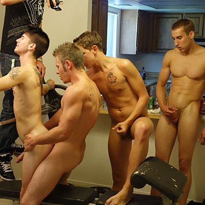 Hot Freshman Travis Gets Gangbang Barebacked | Daily Dudes @ Dude Dump