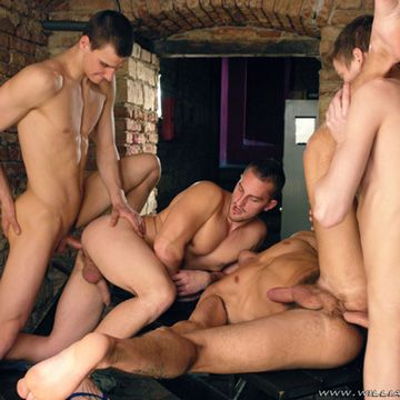 Hot Gay Gang Bang In The Basement | Daily Dudes @ Dude Dump