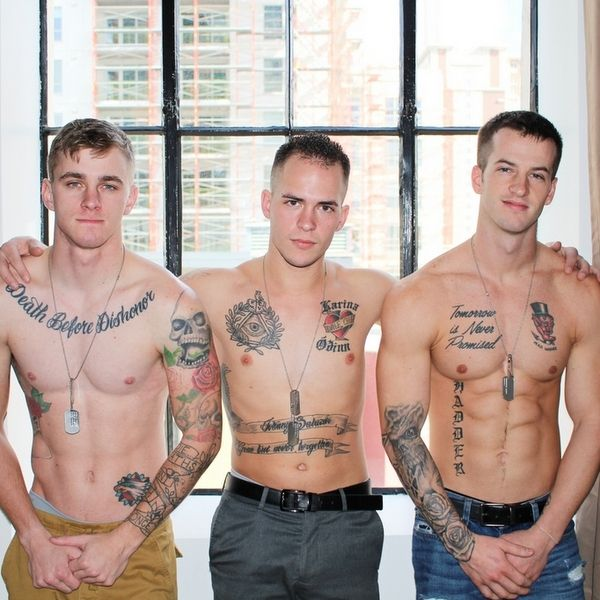 Hot Military Bareback Threesome at ACTIVE DUTY | Daily Dudes @ Dude Dump