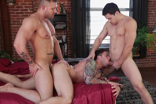 Hot threeway of Austin Fucks Jordan & Chris | Daily Dudes @ Dude Dump