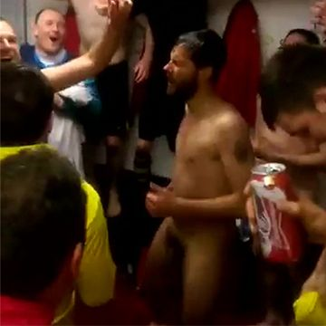 Huge dick bouncing during locker room celebration | Daily Dudes @ Dude Dump