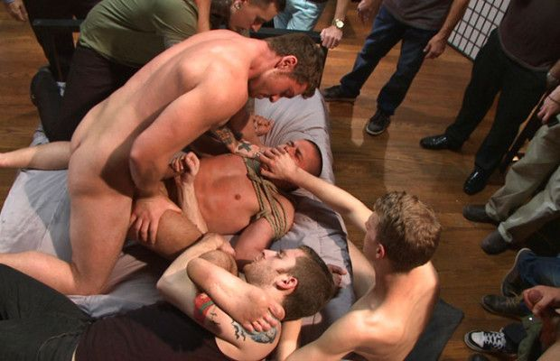Hung stud gets his ass gang fucked | Daily Dudes @ Dude Dump