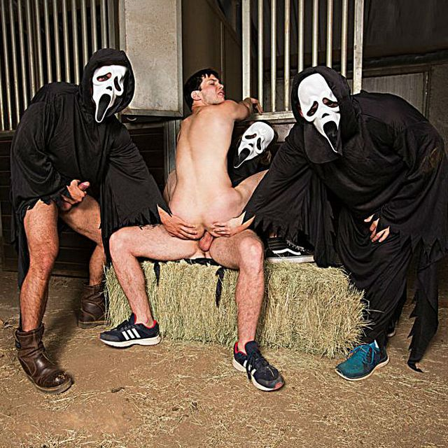 James Edwards fucked by 3 masked men | Daily Dudes @ Dude Dump