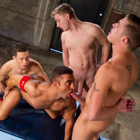 J.R. Bronson gets gang-banged by 3 studs | Daily Dudes @ Dude Dump
