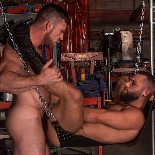Liam Knox and Eddy Ceetee Flip Fuck in the sling   Daily Dudes @ Dude Dump