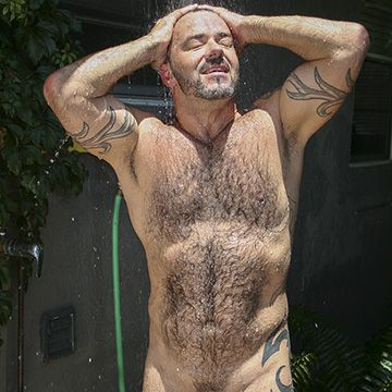 Muscle Bear in Outdoor Shower | Daily Dudes @ Dude Dump