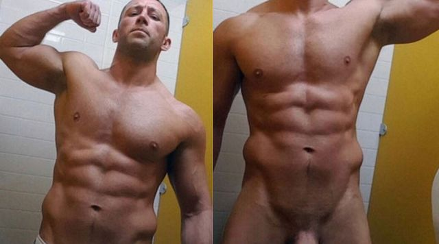 Muscle jock flexing and showing huge cock | Daily Dudes @ Dude Dump