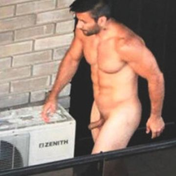 Muscled man caught naked on the balcony | Daily Dudes @ Dude Dump