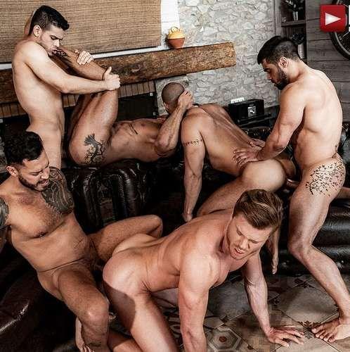 Six Sexy Hunks Fuck Raw in Rico Marlon's Raw Org | Daily Dudes @ Dude Dump