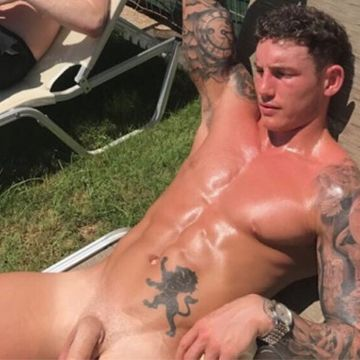 Str8 friends sunbathing (one is naked) | Daily Dudes @ Dude Dump