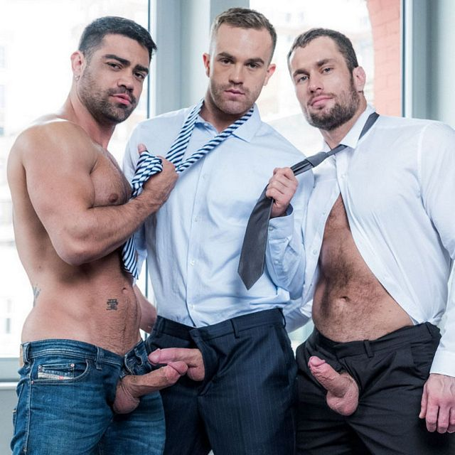 Suited men in raw 3some | Daily Dudes @ Dude Dump
