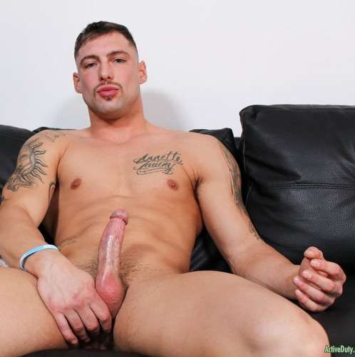 Tattooed Hunk Calvin Jerks off at ACTIVE DUTY | Daily Dudes @ Dude Dump