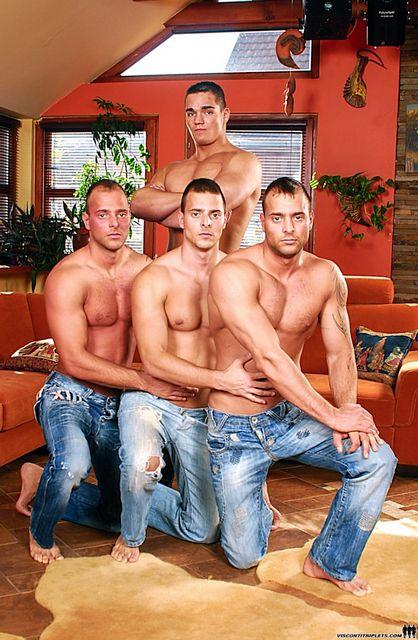 The Visconti Triplets Share Brandon Steel! | Daily Dudes @ Dude Dump