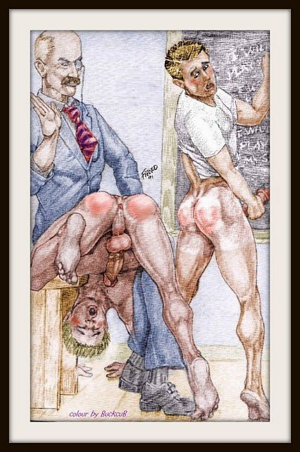 Two Classic Gay Male Spanking Illos by Master Arti | Daily Dudes @ Dude Dump