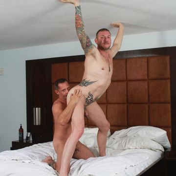 Two hardcore bareback daddies share their loads! | Daily Dudes @ Dude Dump