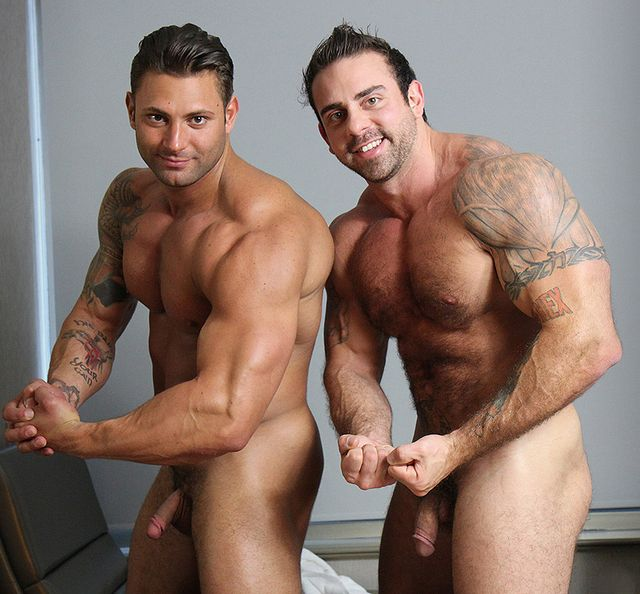 Two muscle studs Xavier and Mike Buffalari JO side | Daily Dudes @ Dude Dump